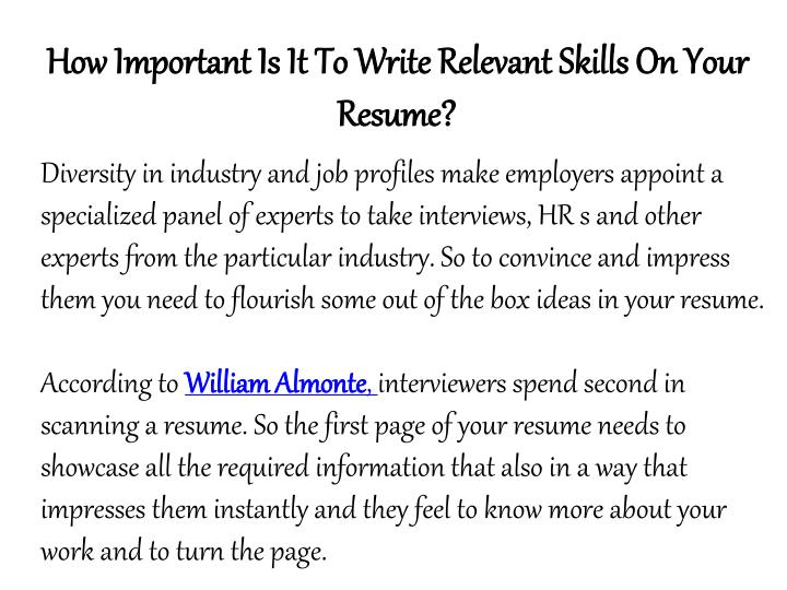 How Important Is It To Write Relevant Skills On Your Resume?