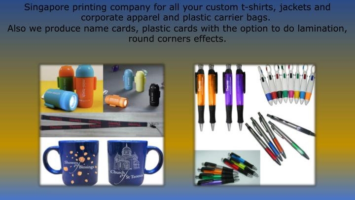 Singapore printing company for all your custom t-shirts, jackets and corporate apparel and plastic carrier bags.