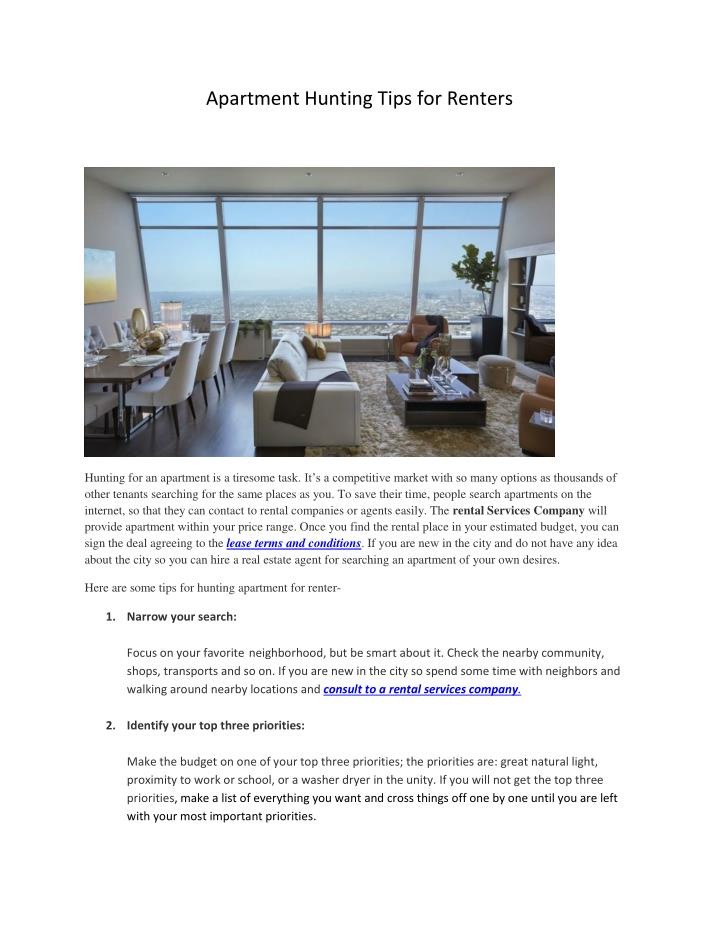 Apartment Hunting Tips for Renters