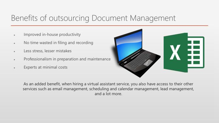 Benefits of outsourcing Document Management
