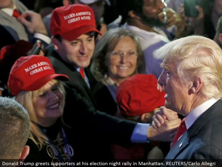 Donald Trump welcomes supporters at his decision night rally in Manhattan. REUTERS/Carlo Allegri