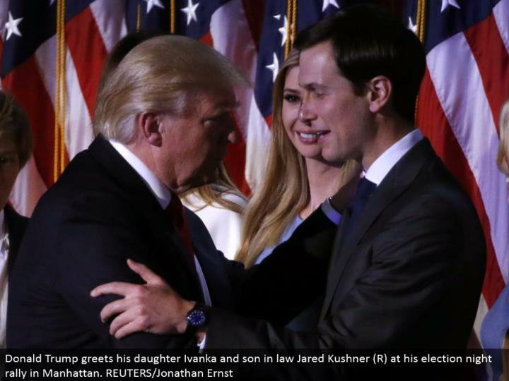 Donald Trump welcomes his girl Ivanka and child in law Jared Kushner (R) at his decision night rally in Manhattan. REUTERS/Jonathan Ernst