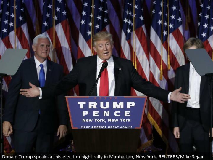 Donald Trump talks at his decision night rally in Manhattan, New York. REUTERS/Mike Segar