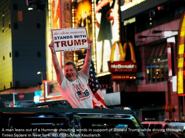 A man inclines out of a Hummer yelling words in support of Donald Trump while driving through Times Square in New York. REUTERS/Mark Kauzlarich