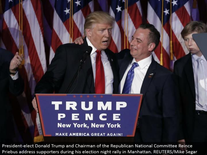 President-choose Donald Trump and Chairman of the Republican National Committee Reince Priebus address supporters amid his race night rally in Manhattan. REUTERS/Mike Segar
