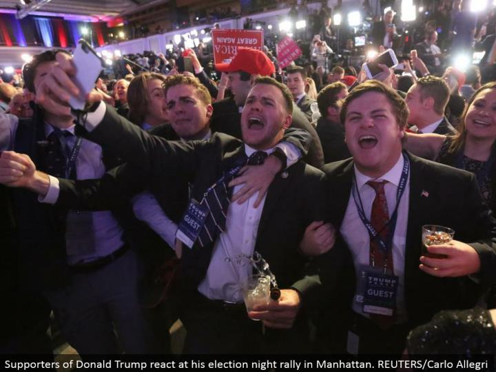 Supporters of Donald Trump respond at his decision night rally in Manhattan. REUTERS/Carlo Allegri