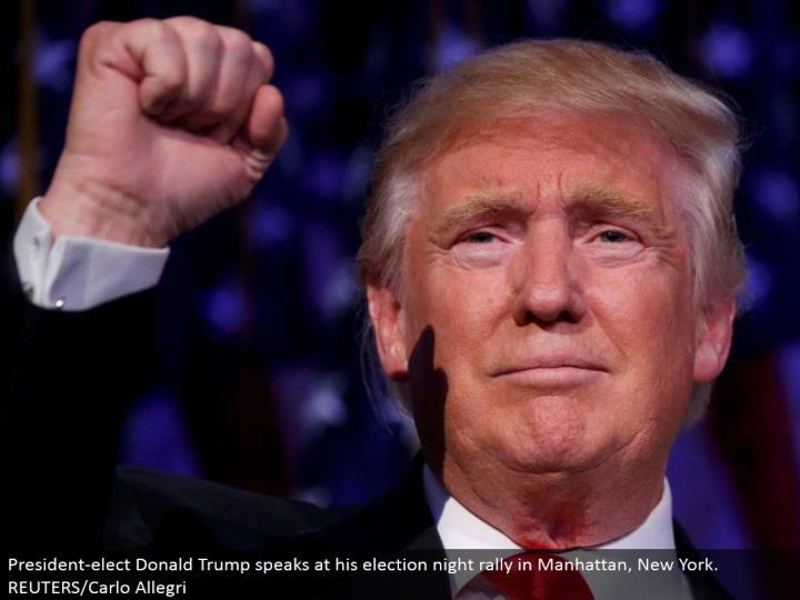 President-choose Donald Trump talks at his race night rally in Manhattan, New York. REUTERS/Carlo Allegri