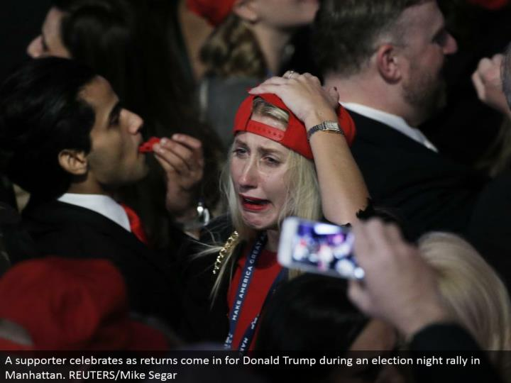 A supporter celebrates as returns come in for Donald Trump amid a race night rally in Manhattan. REUTERS/Mike Segar