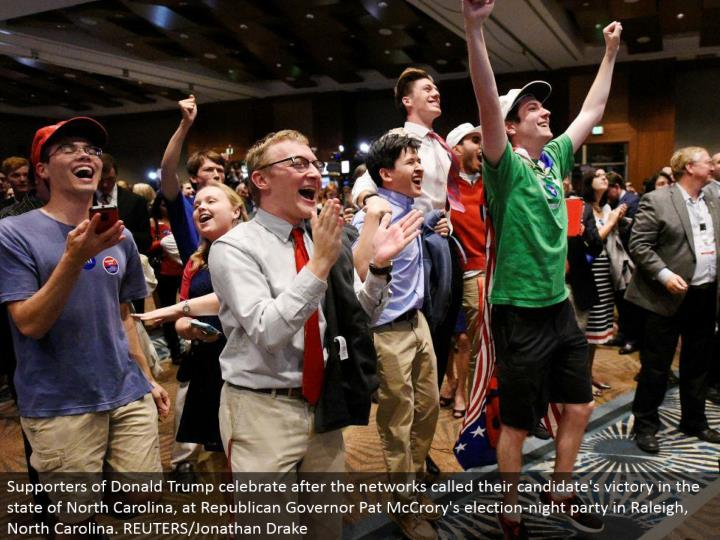 Supporters of Donald Trump celebrate after the systems called their applicant's triumph in the condition of North Carolina, at Republican Governor Pat McCrory's race night party in Raleigh, North Carolina. REUTERS/Jonathan Drake