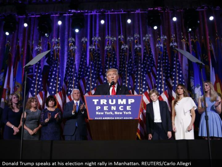 Donald Trump talks at his decision night rally in Manhattan. REUTERS/Carlo Allegri