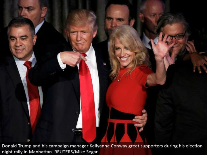 Donald Trump and his crusade supervisor Kellyanne Conway welcome supporters amid his race night rally in Manhattan. REUTERS/Mike Segar