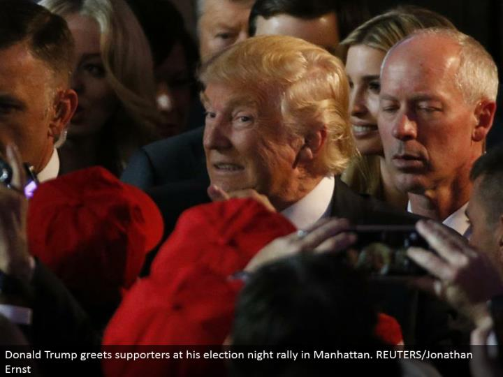 Donald Trump welcomes supporters at his race night rally in Manhattan. REUTERS/Jonathan Ernst