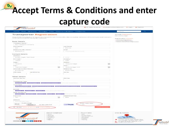 Accept Terms & Conditions and enter