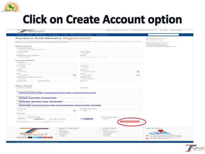 Click on Create Account option