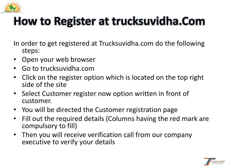 How to Register at trucksuvidha.Com