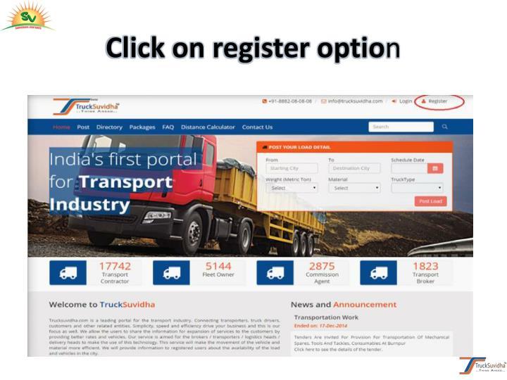 Click on register optio