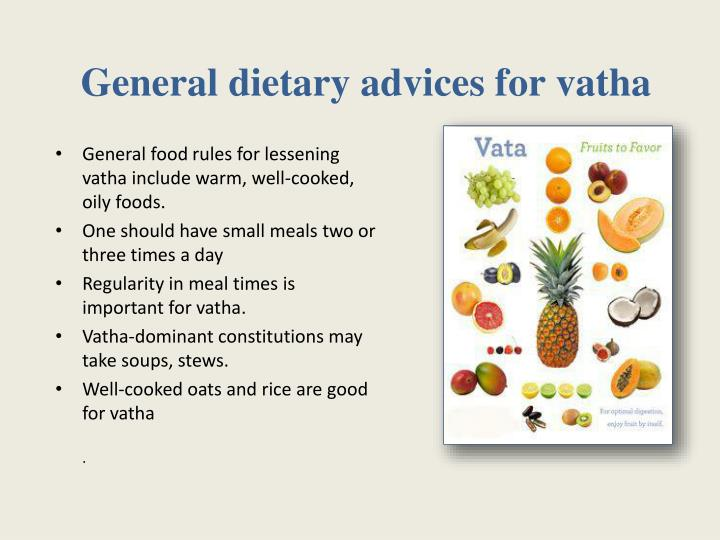 General dietary advices for