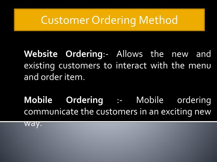 Customer Ordering Method