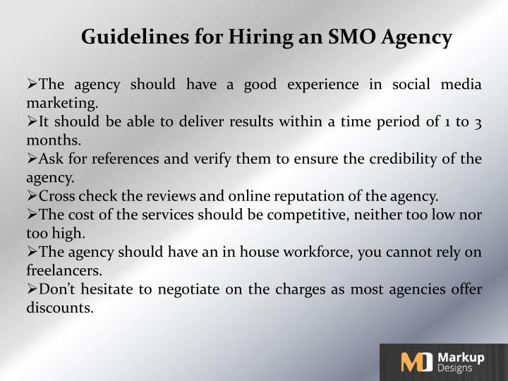 Guidelines for Hiring an SMO