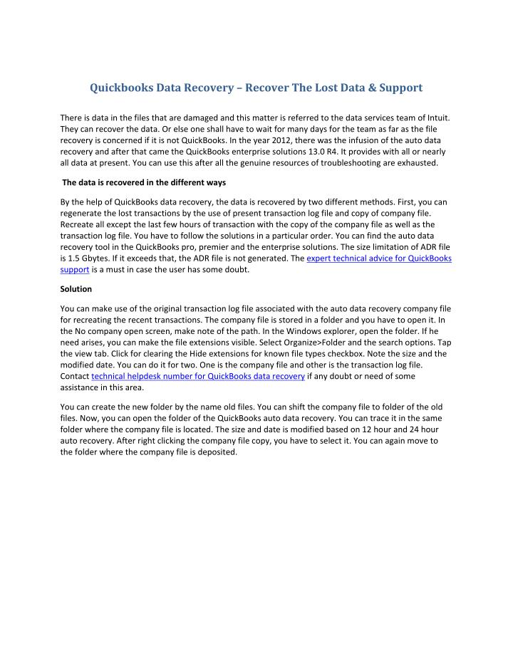 Quickbooks Data Recovery – Recover The Lost Data & Support