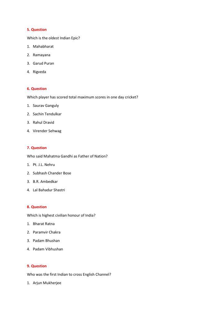 5. Question