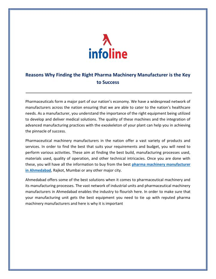 Reasons Why Finding the Right Pharma Machinery Manufacturer is the Key