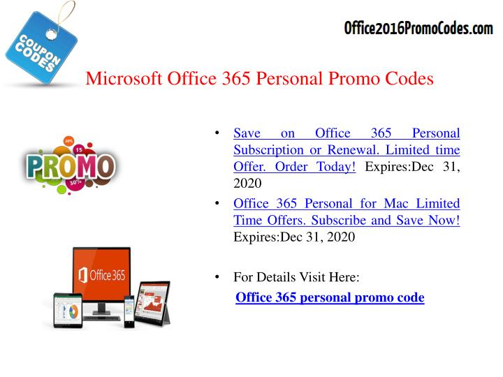 Microsoft Office 365 Personal Promo Codes
