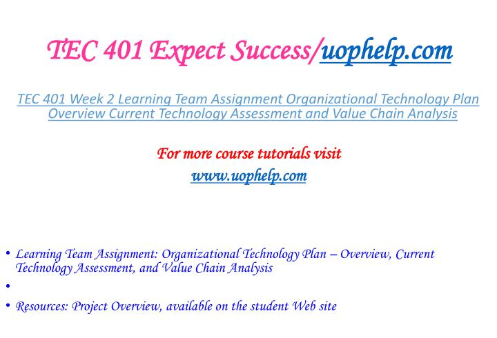 TEC 401 Expect Success/
