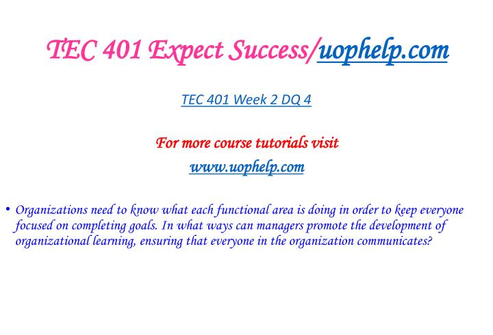 TEC 401 Expect Success/