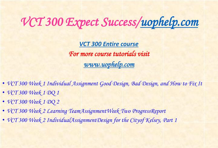 Vct 300 expect success uophelp com1