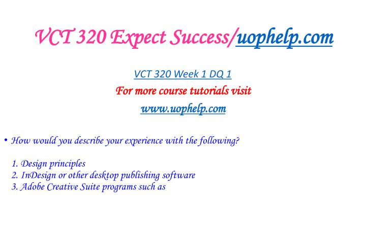 Vct 320 expect success uophelp com2