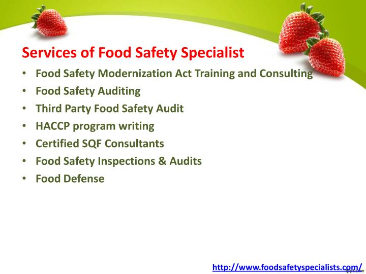 Services of Food Safety Specialist