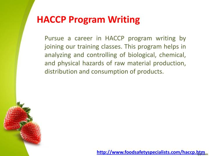 HACCP Program Writing