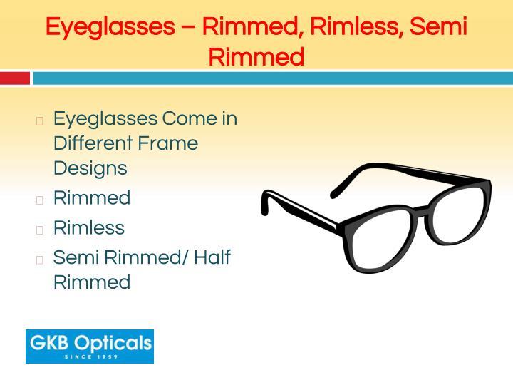 Eyeglasses – Rimmed, Rimless, Semi Rimmed