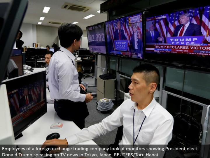 Employees of a remote trade exchanging organization take a gander at screens indicating President choose Donald Trump talking on TV news in Tokyo, Japan. REUTERS/Toru Hanai