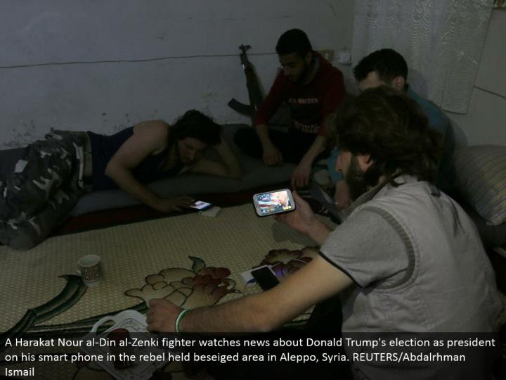 A Harakat Nour al-Din al-Zenki warrior watches news about Donald Trump's race as president on his advanced mobile phone in the revolt held beseiged region in Aleppo, Syria. REUTERS/Abdalrhman Ismail