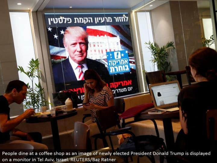 People eat at a coffeehouse as a picture of recently chose President Donald Trump is shown on a screen in Tel Aviv, Israel. REUTERS/Baz Ratner