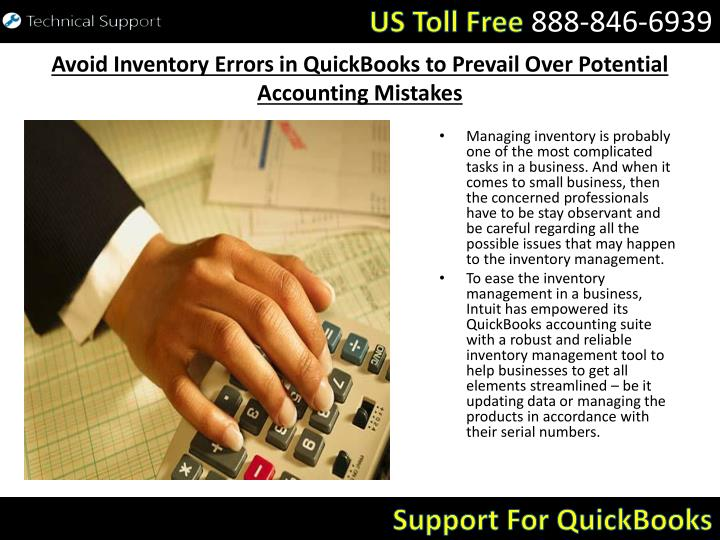 Avoid inventory errors in quickbooks to prevail over potential accounting mistakes