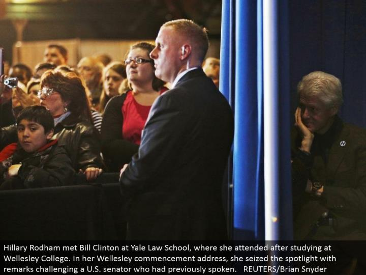 Hillary Rodham met Bill Clinton at Yale Law School, where she went to in the wake of learning at Wellesley College. In her Wellesley beginning location, she grabbed the spotlight with comments testing a U.S. congressperson who had already talked. REUTERS/Brian Snyder