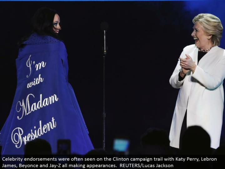 Celebrity supports were regularly observed on the Clinton battle field with Katy Perry, Lebron James, Beyonce and Jay-Z all showing up. REUTERS/Lucas Jackson