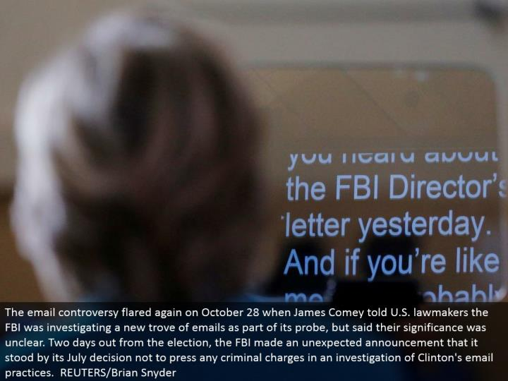 The email contention flared again on October 28 when James Comey told U.S. legislators the FBI was examining another trove of messages as a feature of its test, yet said their importance was hazy. Two days out from the race, the FBI made a surprising declaration that it remained by its July choice not to press any criminal accusations in an examination of Clinton's email rehearses. REUTERS/Brian Snyder