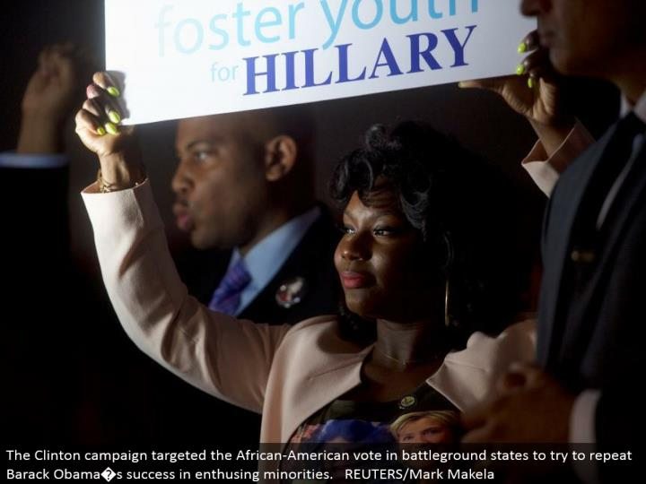 The Clinton crusade focused on the African-American vote in battleground states to attempt to rehash Barack Obama�s accomplishment in enthusing minorities. REUTERS/Mark Makela