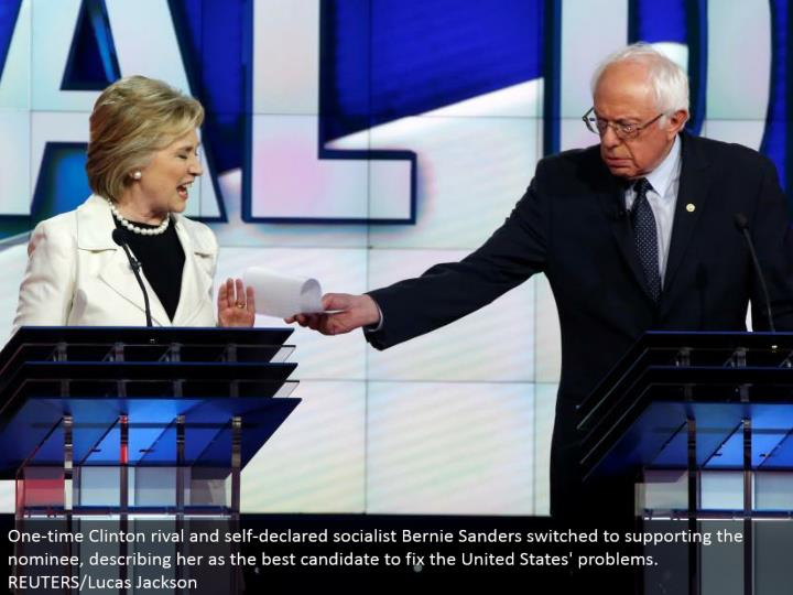 One-time Clinton adversary and self-pronounced communist Bernie Sanders changed to supporting the chosen one, portraying her as the best possibility to alter the United States' issues. REUTERS/Lucas Jackson