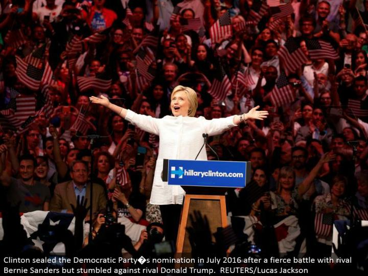 Clinton fixed the Democratic Party�s selection in July 2016 after a savage fight with adversary Bernie Sanders yet bumbled against opponent Donald Trump. REUTERS/Lucas Jackson