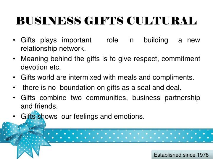 Business gifts cultural