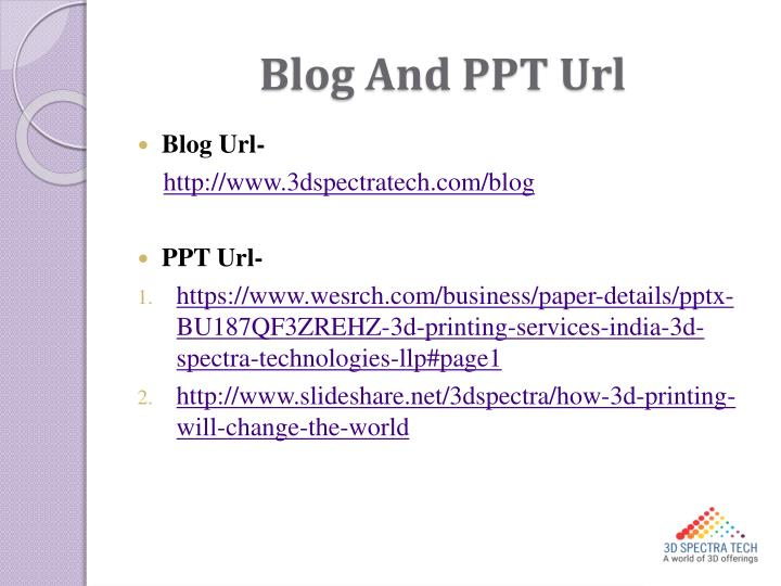 Blog And PPT Url