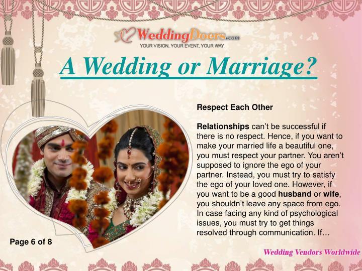 A Wedding or Marriage?