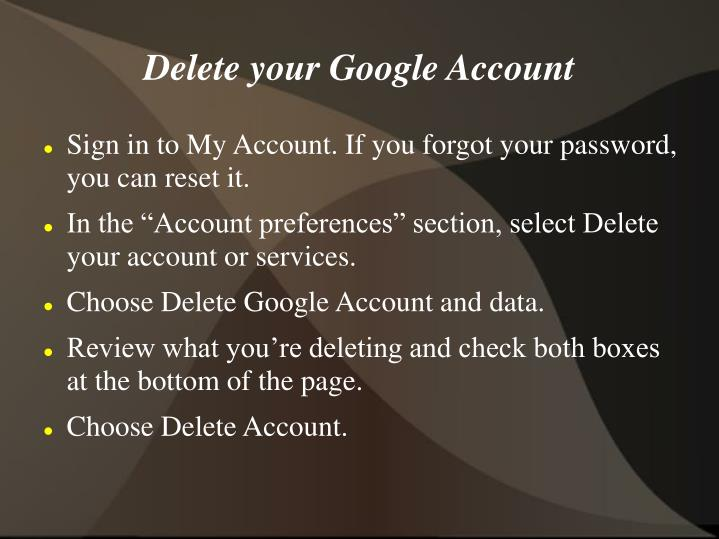 Delete your Google Account