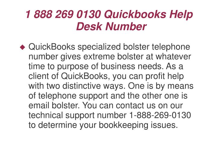 1 888 269 0130 Quickbooks Help Desk Number