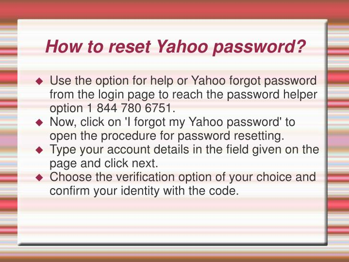 How to reset Yahoo password?